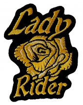 Lady rider with yellow rose biker patch