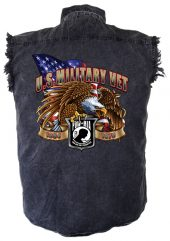 US military Vet denim biker shirt