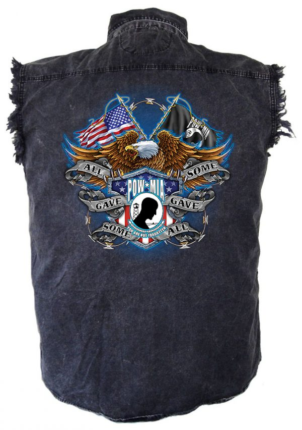 POW-MIA military vet denim biker shirt