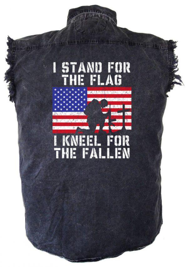 Stand for the fallen denim biker shirt