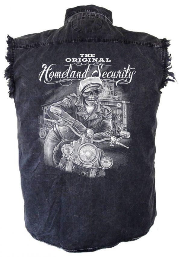 Biker dude skull denim biker shirt