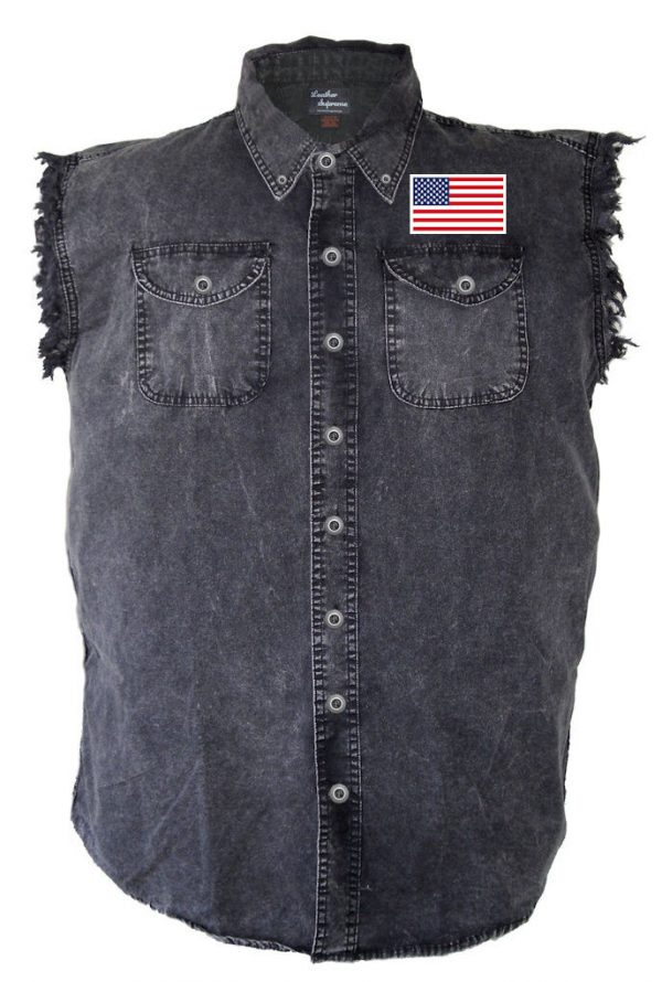 American flag denim biker shirt