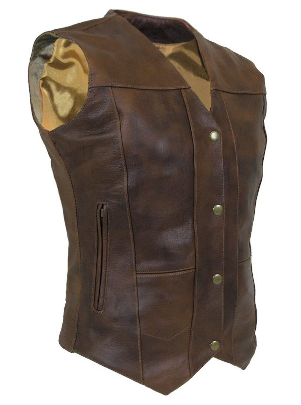 Ladies brown buffalo hide 10 pocket leather vest