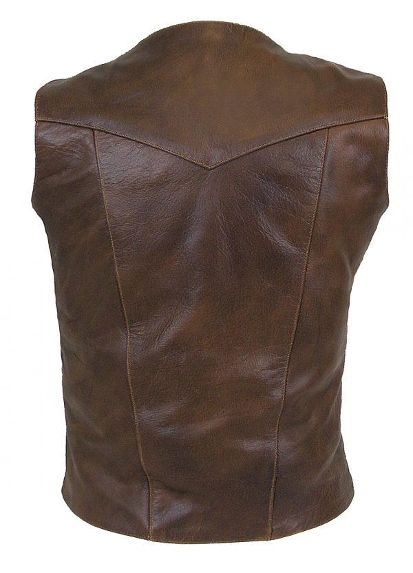 Ladies concealed carry brown leather vest