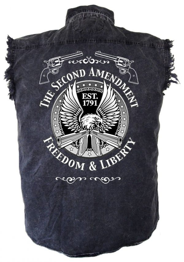 Denim acid washed biker shirt with 2nd amendment design