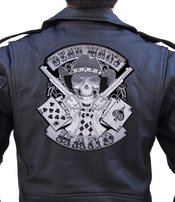 Dead man's hand cowboy embroidered biker patch