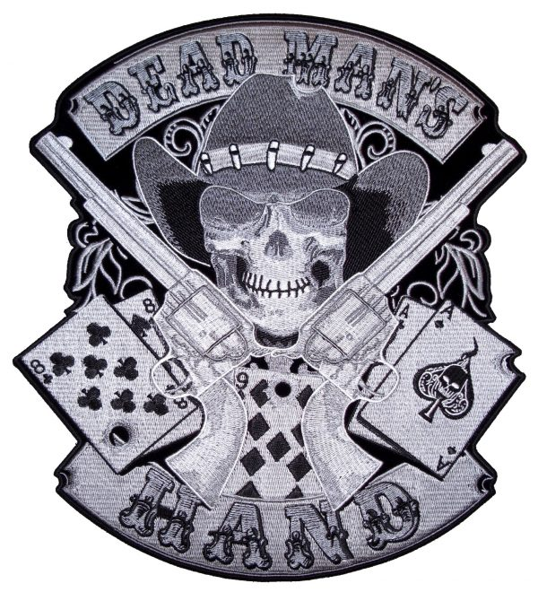 Large aces and eights cowboy skull biker patch