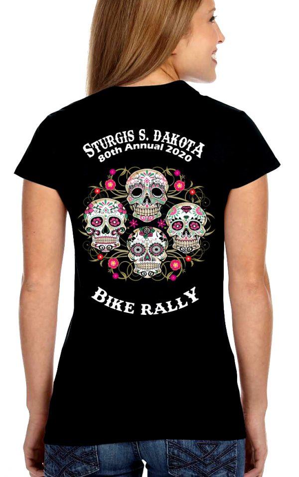 Ladies Sturgis Psychedelic Skulls Shirt
