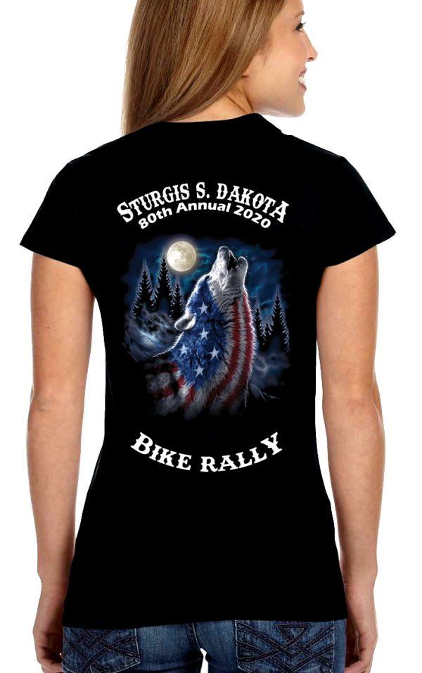 Ladies Sturgis American Wolf V Neck Shirt