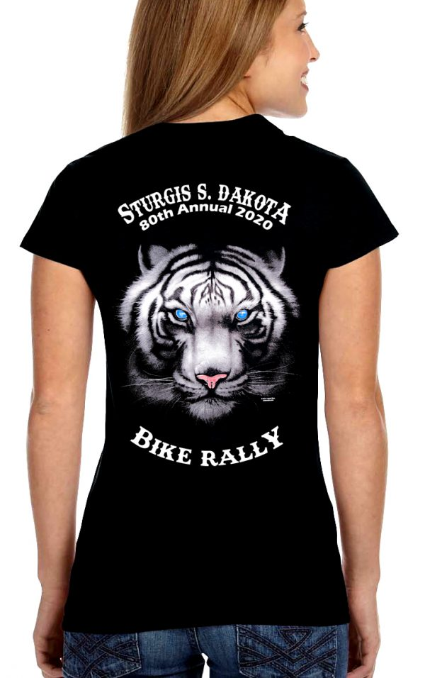Ladies Sturgis Tiger Crew Or V Neck T-Shirt