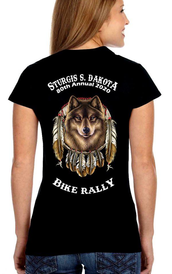 Women Sturgis Gray Wolf Crew Or V Neck Shirt