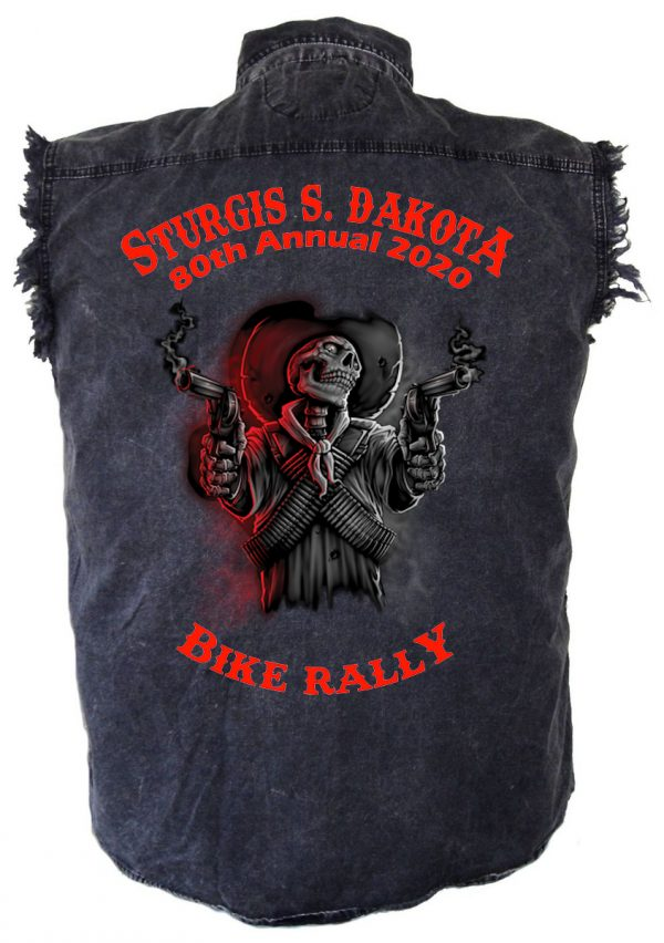 Sturgis Shooting Skeleton Denim Biker Shirt