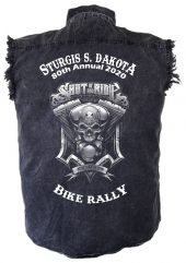 sturgis biker shut up and ride denim shirt