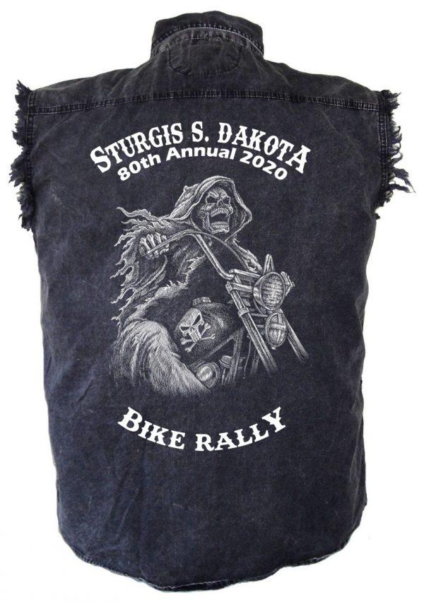 Acid Washed Sturgis Death Ride Denim Biker Shirt