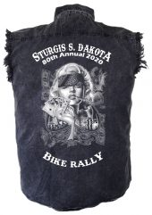 Smokin' Hot Biker Babe Sturgis Denim Biker Shirt