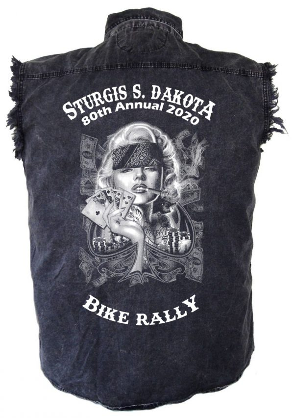 Smokin' Hot Biker Babe Sturgis Denim Biker Shirt