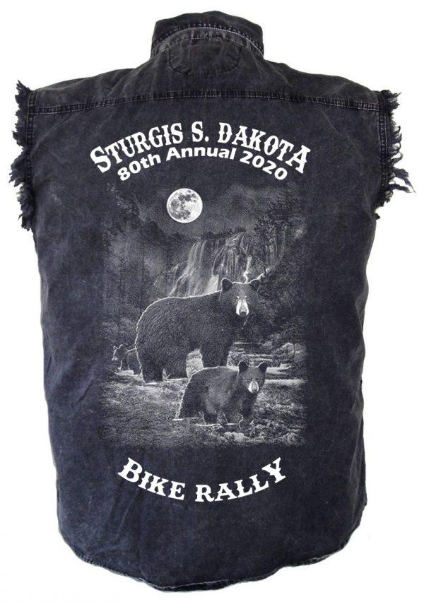 Sturgis Biker Denim Biker Shirt Wild Bars