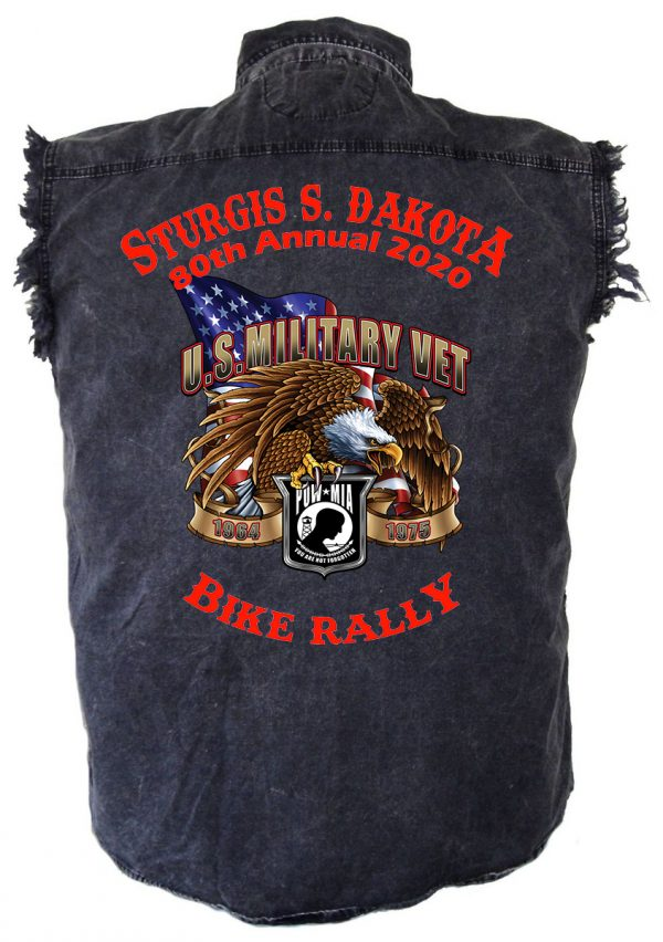 Sturgis Angry Bald Eagle Denim Biker Shirt