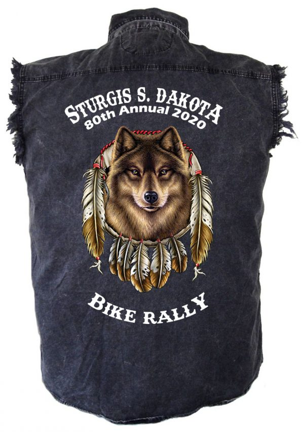 Sturgis Mythical Wolf Denim Biker Shirt