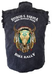 Sturgis Bike Buffalo Skull Denim Biker Shirt