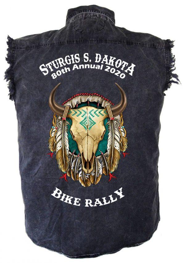 Sturgis Bike Buffalo Skull Denim Biker Shirt
