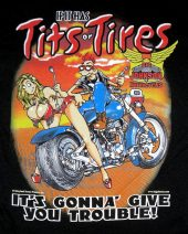 Big Johnson tits or tires biker tee