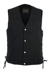 Men's side lace denim biker vest