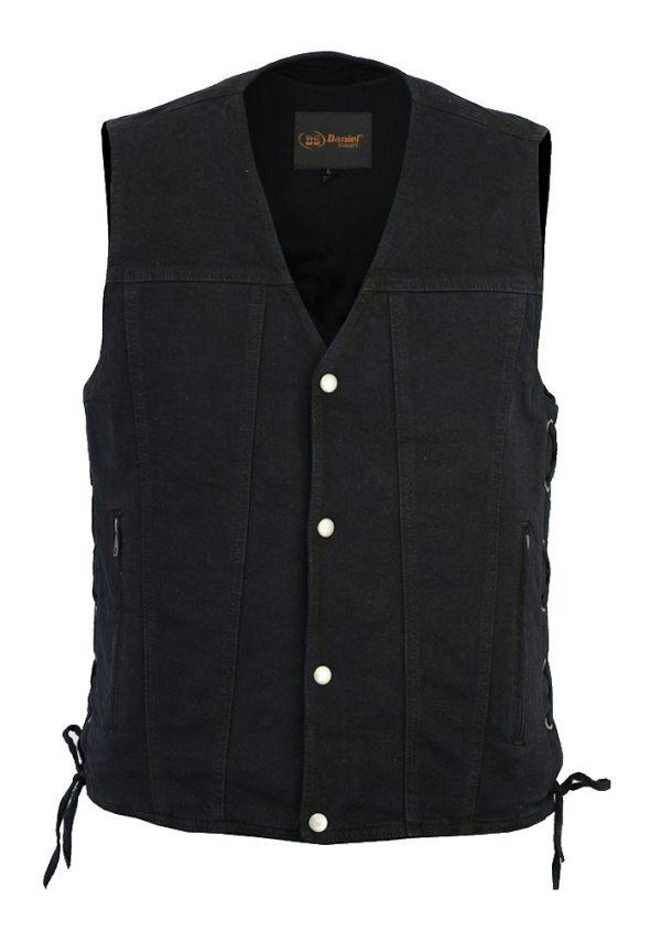 Men's side lace denim biker vest