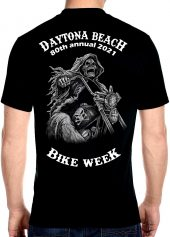 Daytona Beach Bike Week 2021 Grim Reaper Men's Biker Tee Shirt