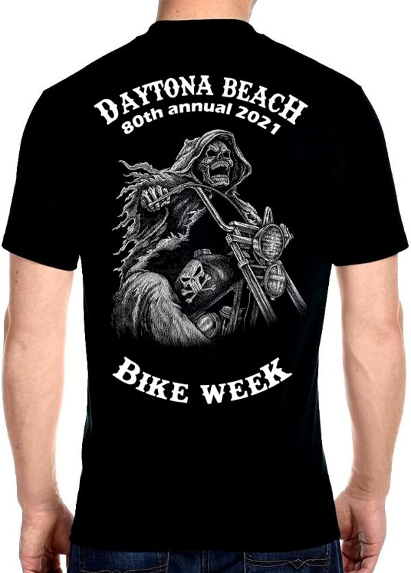 Daytona Beach Bike Week 2021 Grim Reaper Men's Biker Tee Shirt