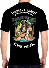 Daytona Beach Bike Week 2021 Badass Pirate Babe Men's Biker Tee Shirt