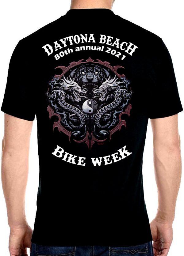 Daytona Beach Bike Week 2021 Yin Yang Dragons Men's Biker Tee Shirt