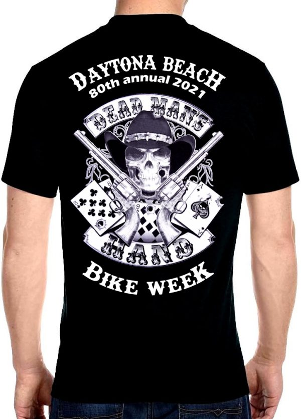 Daytona Beach 2021 Bike Week Dead Man's Hand Biker Tee Shirt