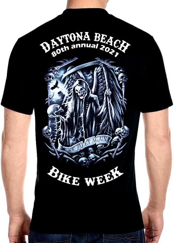 Daytona Beach Bike Week 2021 Facing Death Men's Biker Tee Shirt