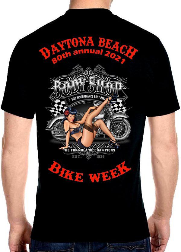 Daytona Beach 2021 Bike Week Vintage Pin-Up Babe Men's Biker Tee Shirt