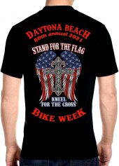 Men's Daytona Beach 2021 Bike Week American Flag and Cross Biker Tee Shirt