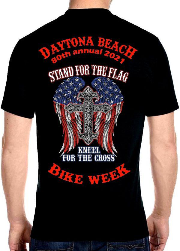 Men's Daytona Beach 2021 Bike Week American Flag and Cross Biker Tee Shirt