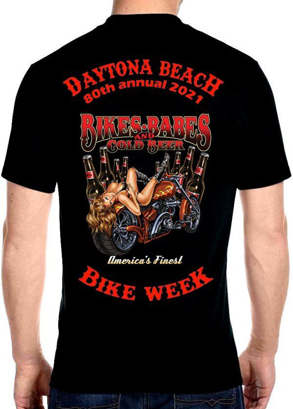 Daytona Beach Bike Week 2021 Babes & Cold Beer Biker Tee Shirt