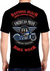 Daytona Beach Bike Week 2021 American Pride Biker Tee Shirt