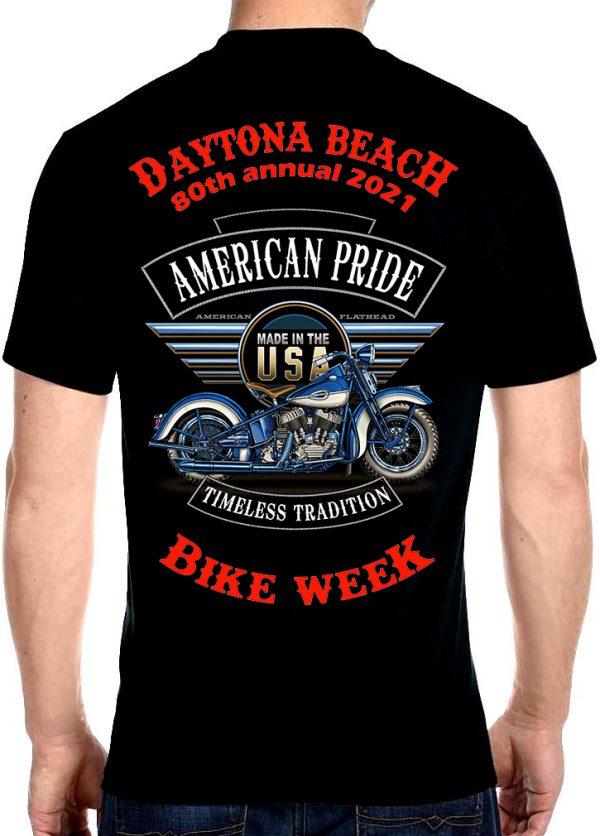 Daytona Beach Bike Week 2021 American Pride Biker Tee Shirt