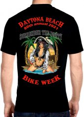 Daytona Beach Bike Week Hot Pirate Girl Men's Biker Tee Shirt