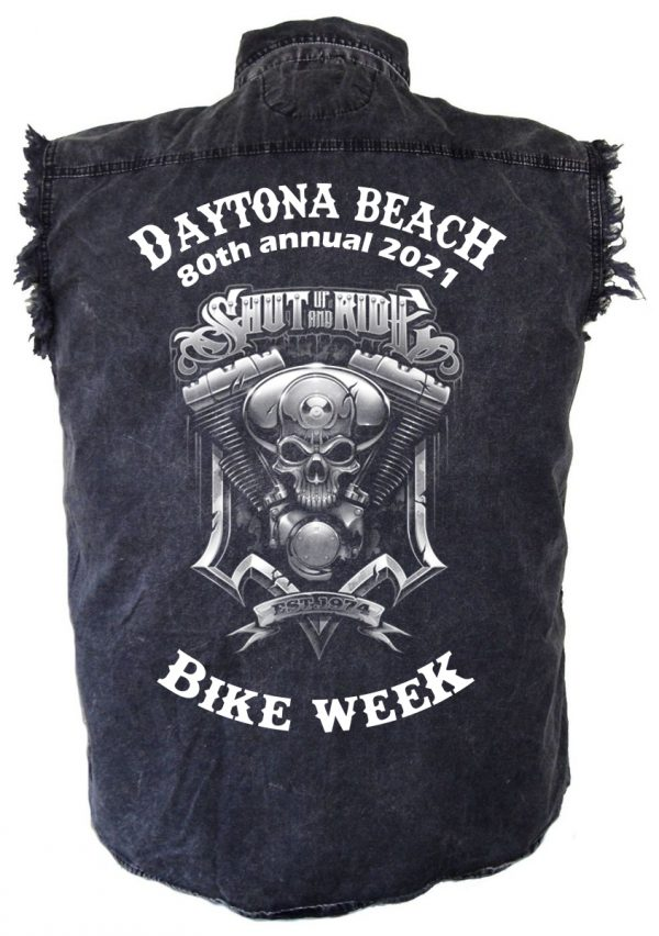 Daytona Beach Bike Week Shut Up And Ride Mens Denim Shirt