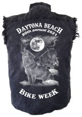 Daytona Beach Bike Week 2021 Howling Wolf Mens Denim Biker Shirt