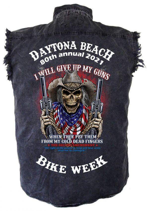 Mens Daytona Beach Bike Week 2021 Skeleton Shooting Guns Denim Shirt