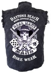 Mens Daytona Beach Bike Week 2021 Dead Man's Hand Biker Shirt