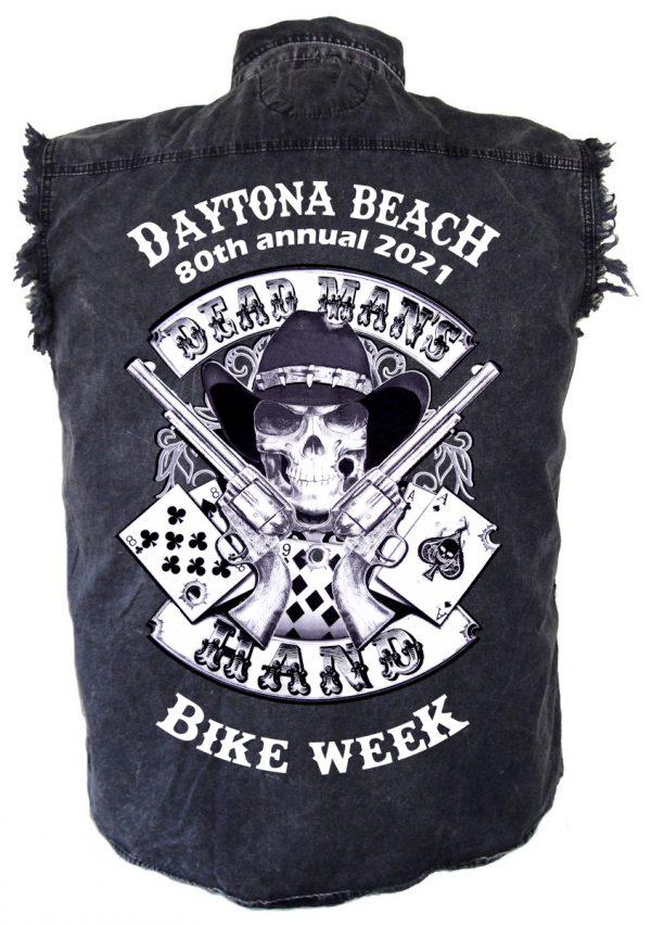Mens Daytona Beach Bike Week 2021 Dead Man's Hand Biker Shirt