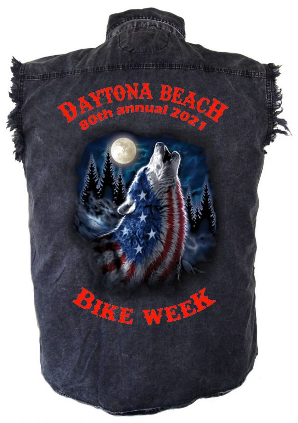 Daytona Beach 2021 Bike Week Howling Wolf Men's Biker Shirt