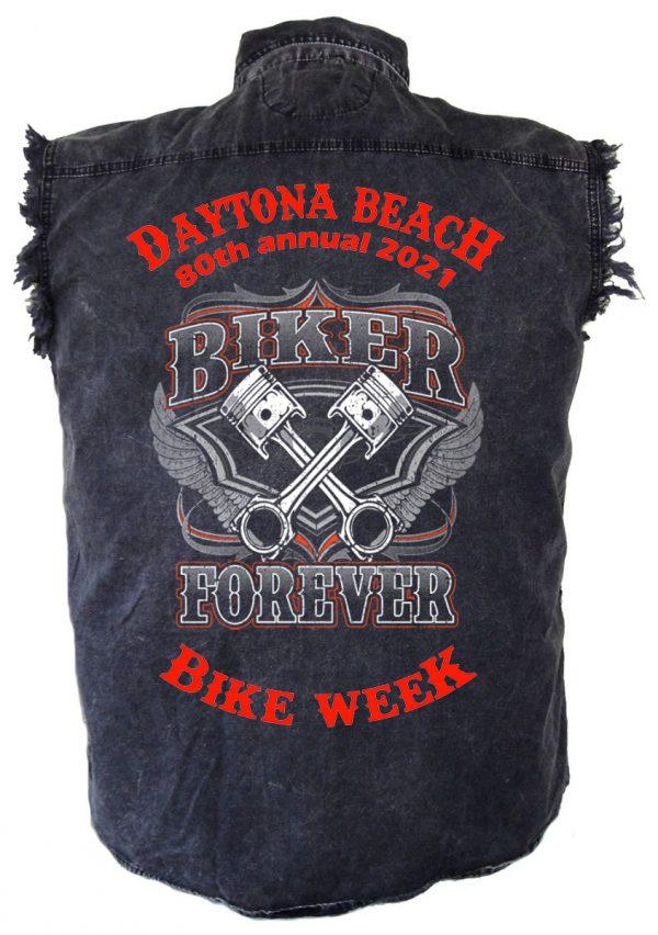 Men's Daytona Beach Bike Week Biker Forever Denim Shirt