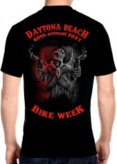 2021 Daytona Beach Bike Week Gunslinger Skeleton Biker Tee Shirt