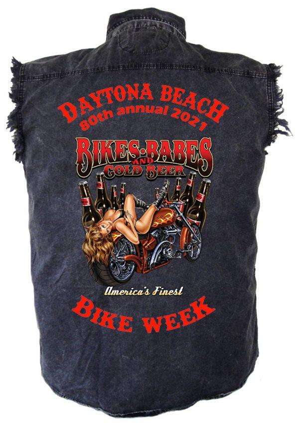 Daytona Beach Bike Week Bikes and Babes Denim Shirt